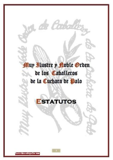 Portada de los Estatutos de la Orden de la Cuchara de Palo